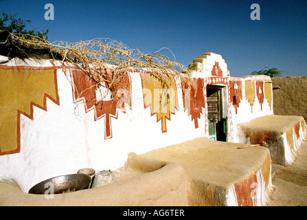India Rajasthan Thar Desert Khuri village decorated doorway to village elders house - Stock Photo