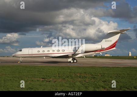 Parked Gulfstream V executive jet plane - Stock Photo