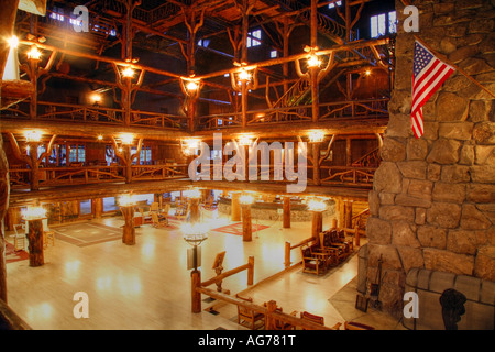 the interior of the historical old faithful inn hotel lobby stock