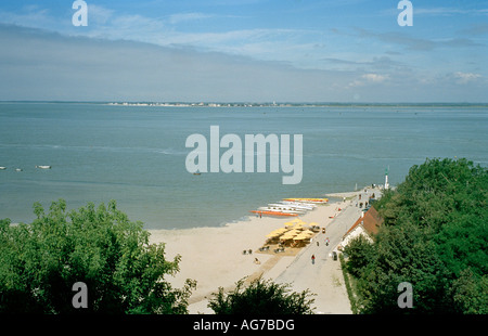 Looking across the Somme estuary from Saint Valery towards Le Crotoy - Stock Photo