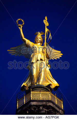 Viktoria Golden Victory atop 69 meter high Victory Column Seigessaule Berlin Germany - Stock Photo