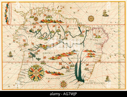 Map of America from the Spanish atlas executed at Messina by Joan Martines 1582. Color lithograph - Stock Photo