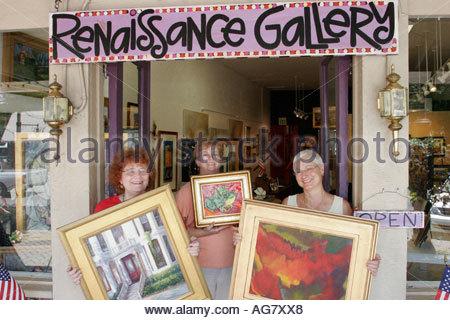 Alabama Northport Renaissance Gallery entrance framed paintings - Stock Photo