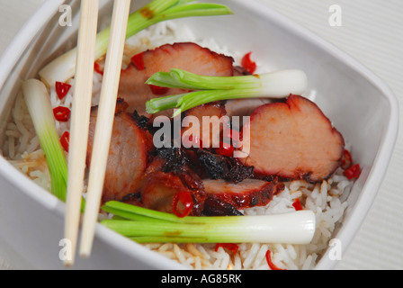 A bowl of Cantonese Chinese char-siu pork and spring onions on rice. - Stock Photo