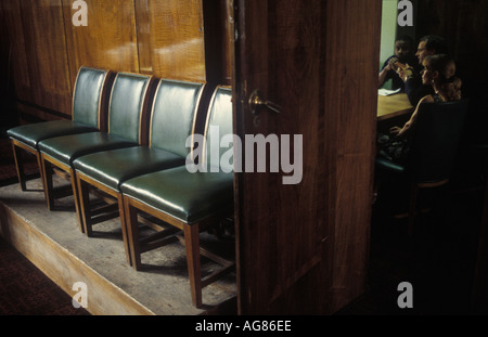 A row of chairs outside a meeting room in Hackney Town Hall, London. UK. - Stock Photo