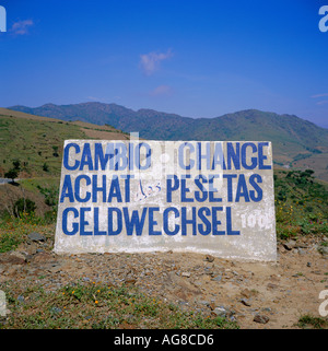 Concrete slab sign on border between France and Spain - Stock Photo