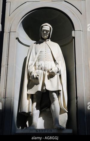 Statue of Giotto di Bondone at the Uffizi Gallery in Florence Italy - Stock Photo