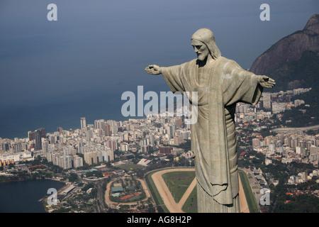 Corcovado Christ Redeemer Rio De Janeiro Brazil - Stock Photo