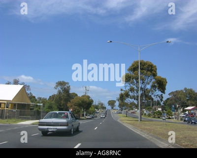 On the reoad in Victora - typical small city on the Great Ocean Road, Victoria, Australia - Stock Photo