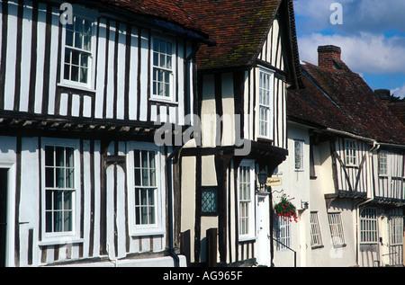 Half timbered houses Lavenham Suffolk England - Stock Photo