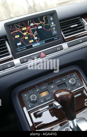 In car sat nav system in night mode Austria - Stock Photo