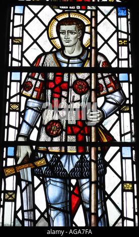 Stained glass church window of English patron Saint St George in St Matthews Church Wookey Somerset England UK - Stock Photo