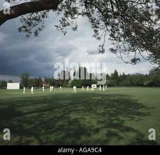 A cricket match held on the village green at Longparish Hampshire on a typical English summer day with sunshine - Stock Photo