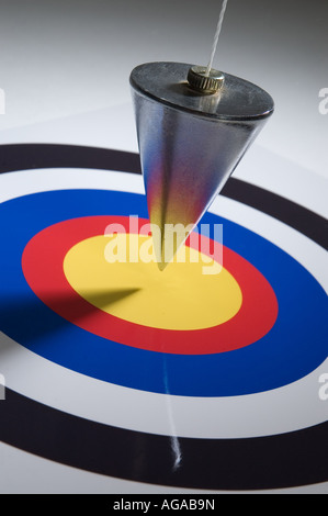 Plumb bob on target - Stock Photo