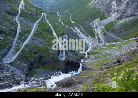 The hairpin bends of the Trollstigen road Rauma More og Romsdal Norway Trollstigen means Trolls Path or Troll Ladder - Stock Photo
