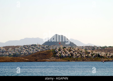 A small town and a view on Aegean Sea in Turkey - Stock Photo