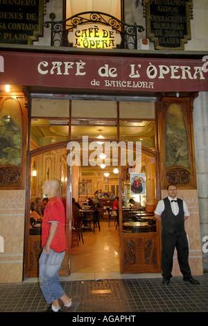 Spain Barcelona Ramblas Cafe de Opera people - Stock Photo
