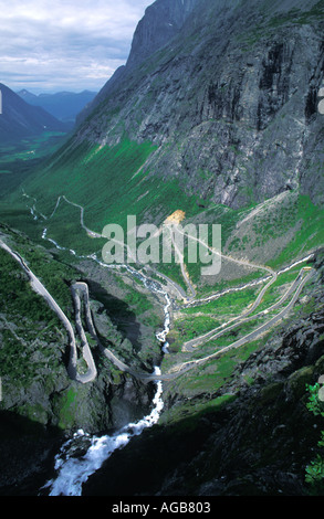 NORWAY ROMSDAL TROLLSTIGEN THE TROLLS LADDER TROLLS CAUSEWAY  - Stock Photo