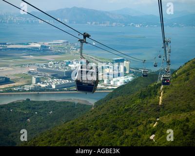 China, Hong Kong, Lantau Island, cable cars - Stock Photo