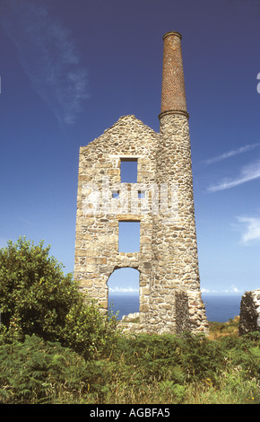 Bosigran tin mine engine house in the West Penwith district of Cornwall, UK - Stock Photo