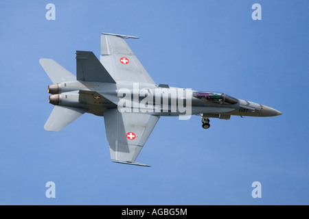 Swiss Air Force F18 FA18 Super Hornet airplane - Stock Photo