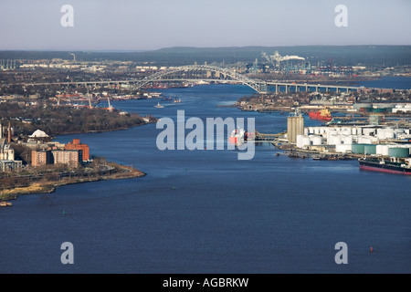 Aerial view of New York City s Bayonne Bridge and harbor - Stock Photo