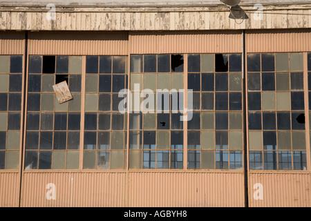 Abandoned airplane hangar El Toro Marine Corps Base Orange County California United States of America - Stock Photo