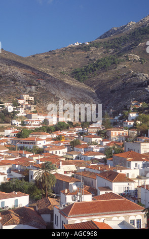 Houses on the island of Hydra near Athens Greece - Stock Photo