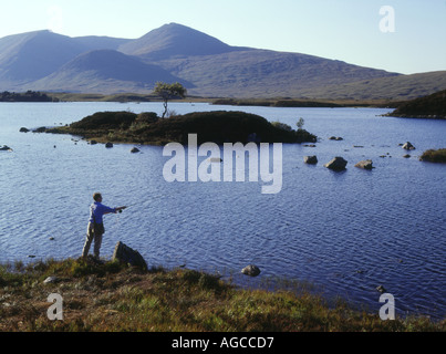dh Lochan na h Achlaise RANNOCH MOOR LOCH ARGYLL SCOTLAND Angler casting fly fishing line freshwater lake Highlands uk angling mountain