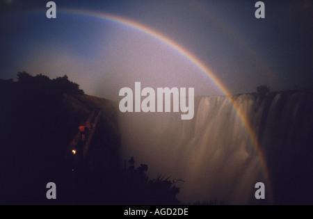 Lunar rainbow Victoria Falls Zambia - Stock Photo