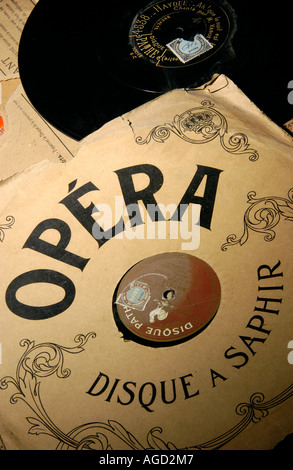Opera music - old vintage vinyl records - Stock Photo