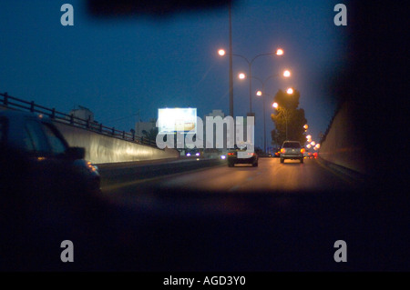 Night drive in Amman, Jordan - Stock Photo