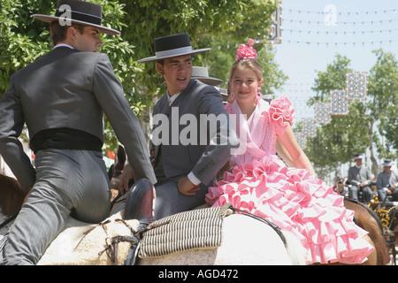 Seville Spain Scene at annual Seville Fair - Stock Photo