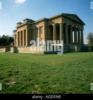 Northington Grange now only a shell is a neo classical country house with many Greek Doric columns - Stock Photo