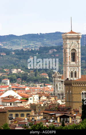 The Campanile was the Citys architect Giotto masterpiece It stands 85mtrs high 276 ft and is six metres 20ft short - Stock Photo