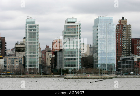 Perry West Towers and 165 Charles Street on the Hudson River waterfront new york city new york USA - Stock Photo