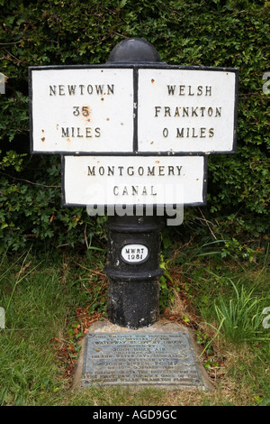 Milepost at Frankton Locks at the Montgomery and Llangollen Canal Junction Shropshire England - Stock Photo