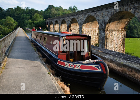 Crossing Chirk Aqueduct on the England Wales Border - Stock Photo