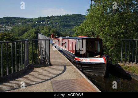 Crossing Pontcysyllte Aqueduct over the Dee Valley North Wales - Stock Photo