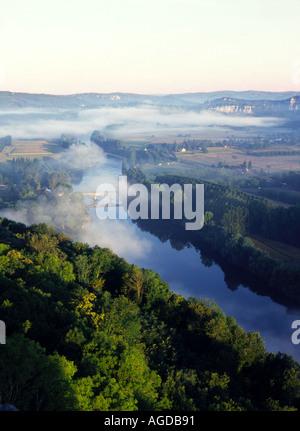 Mist over River at Domme Dordogne Valley France - Stock Photo