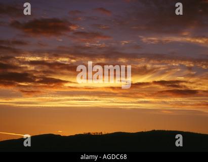 dh Kilmartin valley KILMARTIN ARGYLL Sunset pink orange grey clouds orange sky hills scenic night countryside uk
