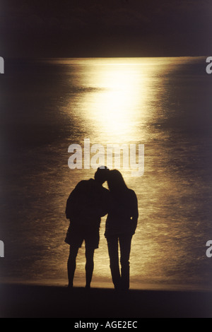 Couple on shore silhouetted in romantic moonlight