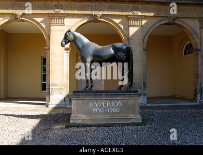 Statue of racehorse Hyperion in Newmarket UK - Stock Photo