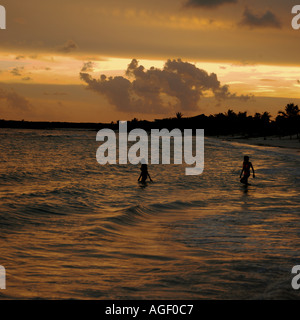 Sunset on a beach near Cancun on the Yucatan Peninsula in Mexico - Stock Photo