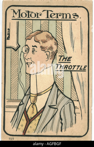 Comic greeting picture postcard titled 'The Throttle' circa 1910 - Stock Photo