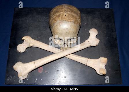 Genuine human skull cross bones skull and crossbones scull Inside a masonic lodge. poison poisonous poisons bad - Stock Photo