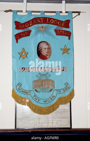 Banner Inside a masonic lodge Mozart Lodge No 373 commit thy work to God - Stock Photo