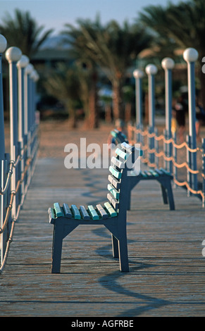 Empty seat on a jetty Red Sea coast at Nuweiba Sinai Egypt Vacation photograph Middle East - Stock Photo