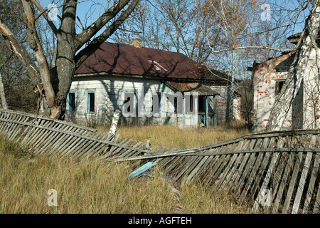 abondoned house in Chernobyl exclusion zone - Stock Photo