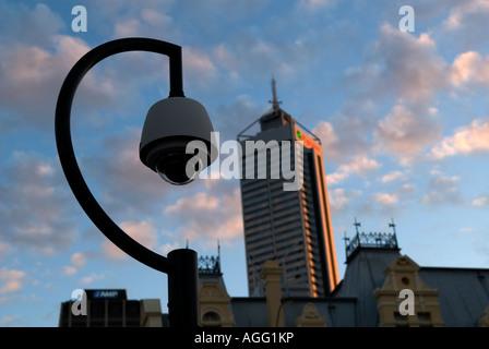 Closed Circuit Television (CCTV) camera overlooks the CBD (Perth, Western Australia). - Stock Photo